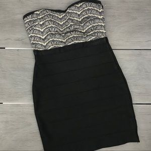 WOW couture strapless bodycon dress lace medium